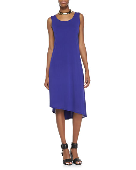 Sleeveless Asymmetric-Hem Dress, Blue Violet, Women's