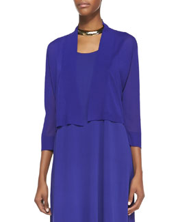 Eileen Fisher Crinkle Cropped Cardigan, Blue Violet, Women's