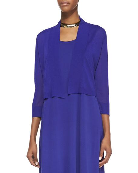 Crinkle Cropped Cardigan, Blue Violet, Women's