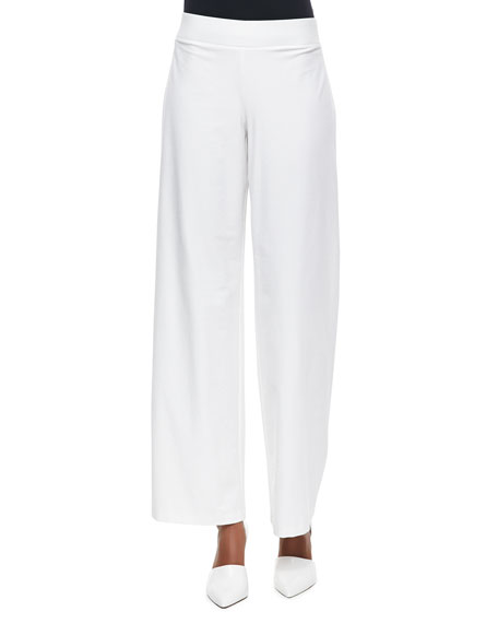 Stretch Crepe Modern Wide-Leg Pants, White, Women's
