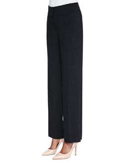 Eileen Fisher Eco Tropical Suiting Wide-Leg Trousers
