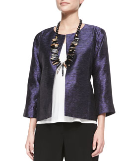 Eileen Fisher 3/4-Sleeve Threaded Silk Jacket