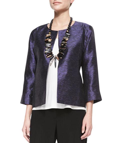 3/4-Sleeve Threaded Silk Jacket, Women's