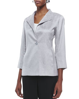 Eileen Fisher Jacquard Shimmer One-Button Jacket