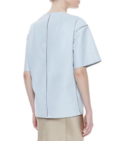 Short-Sleeve Lamb Leather Topper Jacket