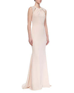 Badgley Mischka Collection Sleeveless Beaded-Shoulder Gown, Blush