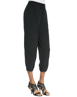 Eileen Fisher Silk Drawstring Cropped Pants