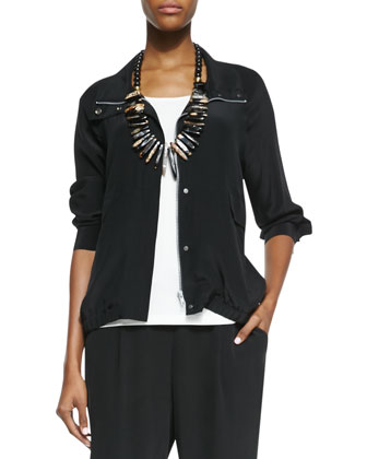 Silk Crepe de Chine Bomber Jacket, Women's