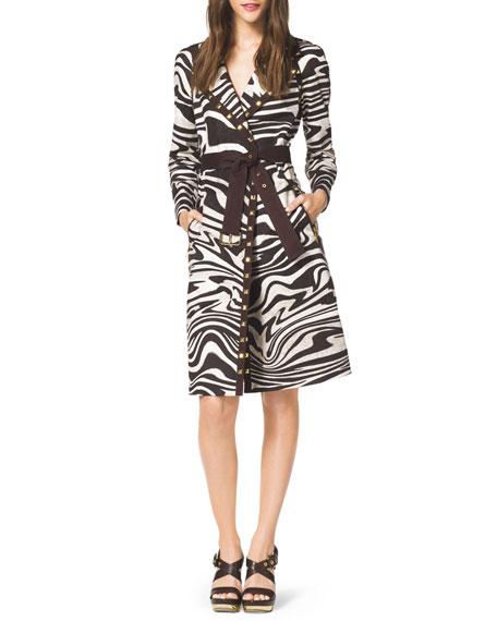 Zebra-Print Trenchcoat
