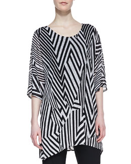 Caroline Rose Divided Lines Knit Tunic, Women's