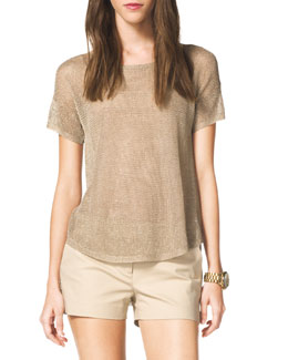 MICHAEL Michael Kors  Open-Stitch Shimmery Sweater
