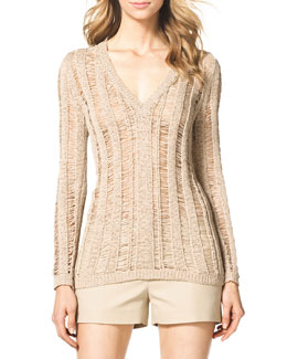 MICHAEL Michael Kors  Tape Yarn V-Neck Sweater