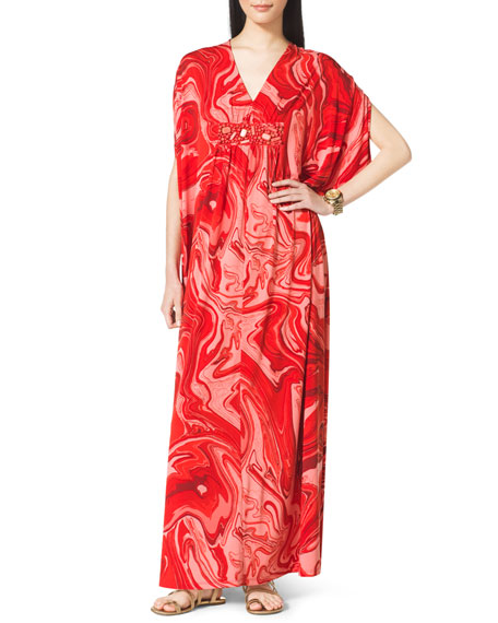 Printed Beaded Caftan