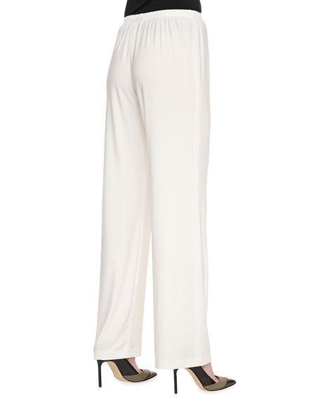 Wide-Leg Stretch Pants, White