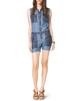 MICHAEL Michael Kors  Two-Tone Chambray Romper