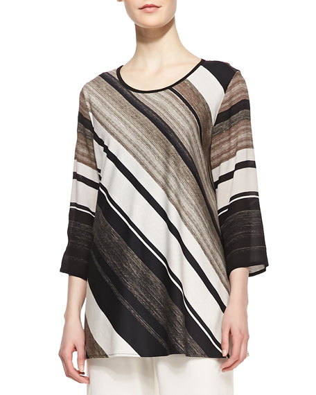 Layered-Stripe Printed Tunic, Women's