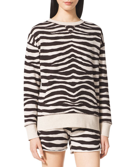 Zebra-Stripe Terry Sweatshirt
