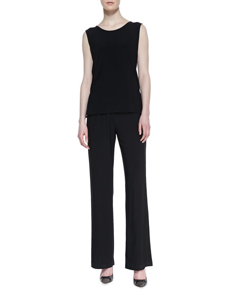 Straight-Leg Jersey Pants, Black