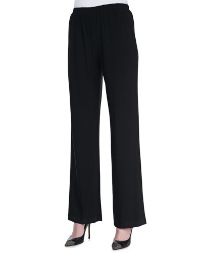 Caroline Rose Straight-Leg Jersey Pants, Black