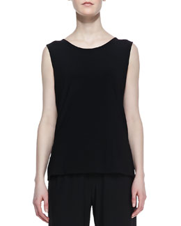 Caroline Rose Stretch-Knit Long Tank, Black