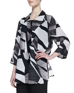 Caroline Rose Fragmented-Print Easy Georgette Shirt, Women's