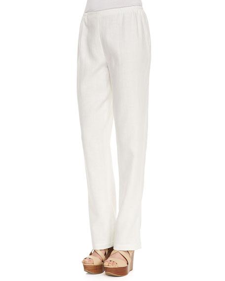 Linen Straight-Leg Pants, White