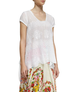 Johnny Was Collection Jasmine Short-Sleeve Scalloped Top, Women's