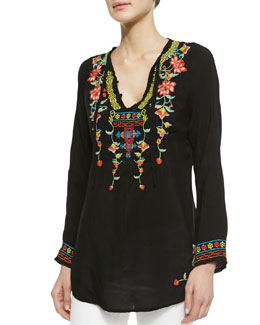 Johnny Was Collection Suko Embroidered Georgette Blouse