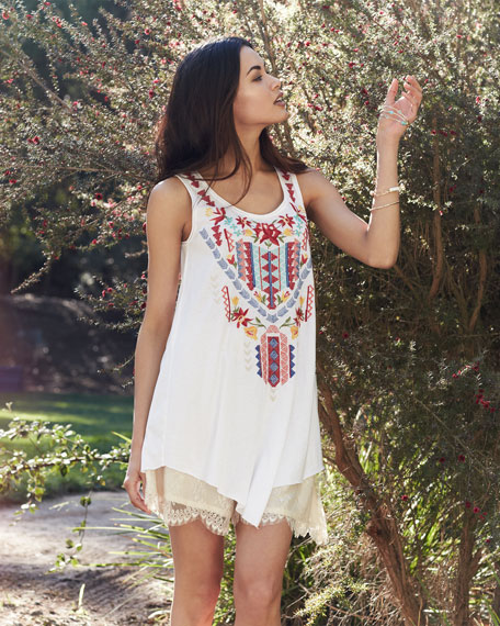 Ruby Embroidered Asymmetric Tunic, Women's