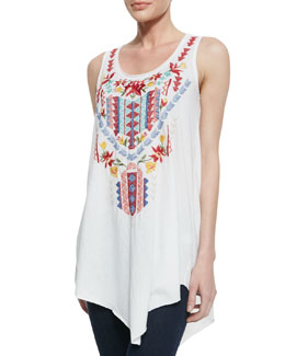 Johnny Was Collection Ruby Embroidered Asymmetric Tunic,