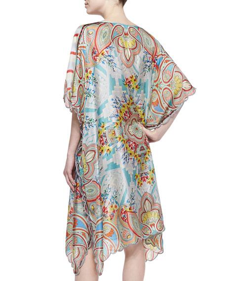 Dandridge Printed Silk Caftan Dress, Women's
