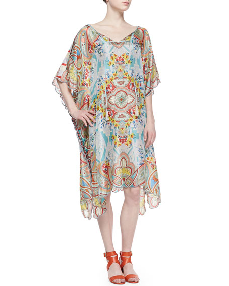Dandridge Mixed-Print Silk Half-Sleeve Caftan Dress
