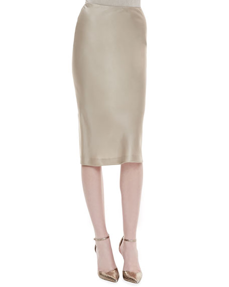Priscilla Satin Pencil Skirt