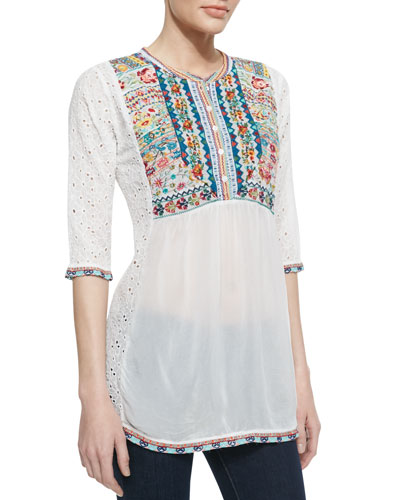 Johnny Was Collection Petals Embroidered Eyelet Georgette Blouse, Women's