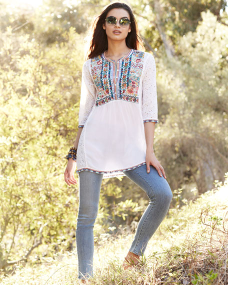 Petals Embroidered Eyelet Georgette Blouse