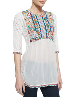 Johnny Was Collection Petals Embroidered Eyelet Georgette Blouse