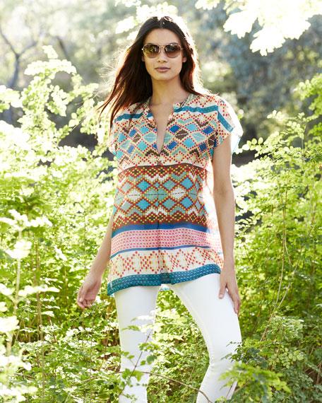 Mixed-Print Silk Short-Sleeve Blouse