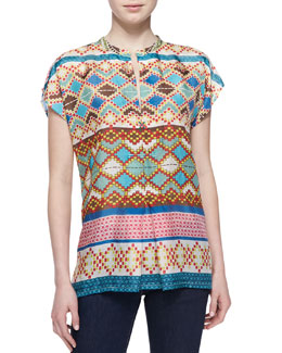 Johnny Was Collection Mixed-Print Silk Short-Sleeve Blouse