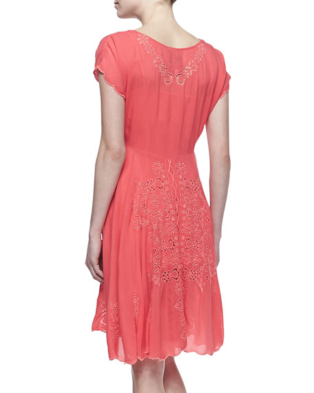 Lucy Eyelet Cap-Sleeve Dress, Women's