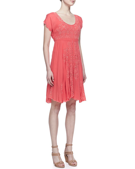 Lucy Eyelet Cap-Sleeve Dress