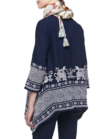 Baylee Embroidered Drape Cardigan, Women's