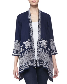 Johnny Was Collection Baylee Embroidered Drape Cardigan, Women's