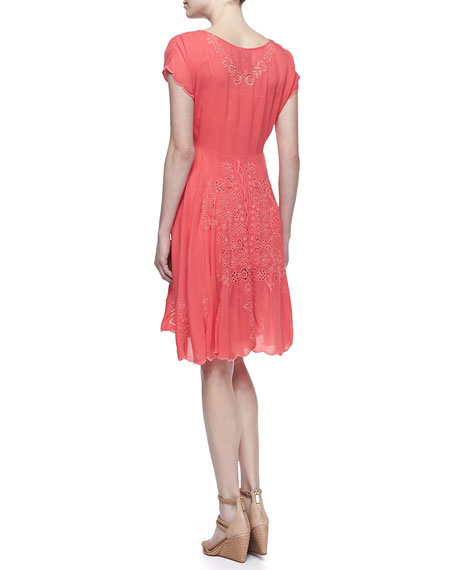 Sunshine Embroidered Bias-Cut Dress