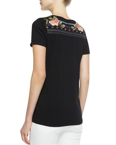 Danielle Embroidered V-Neck Tee, Women's