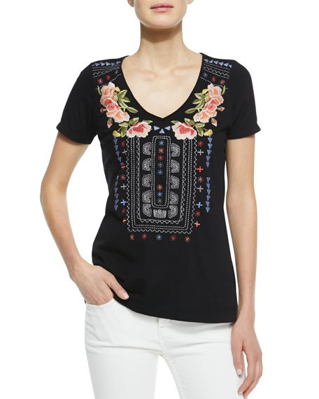 Danielle Embroidered V-Neck Tee, Women's