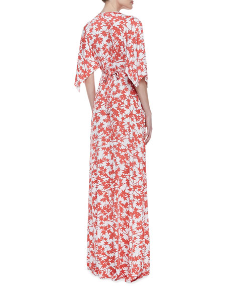 Print-Jersey Maxi Caftan Dress, Women's