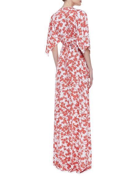 Print-Jersey Maxi Caftan Dress, Women's