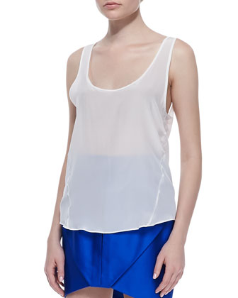 Relaxed Silk Tank, White