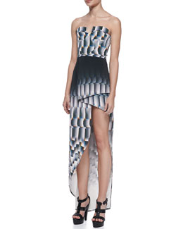 Suboo Cityscape Strapless Jersey Wrap Maxi Dress