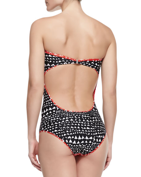 Heart-Print Strapless One-Piece Swimsuit